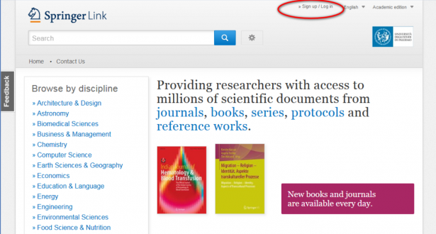 Downloading Springer books from UNIPA